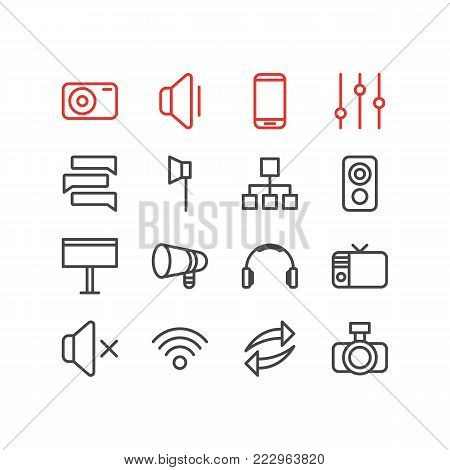 Vector illustration of 16 media icons line style. Editable set of bullhorn, chat, wifi and other icon elements.