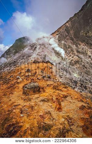 Landscape of the Gunung Sibayak volcano in Sumatra, Indonesia