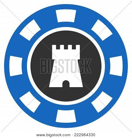 Bulwark Casino Chip flat vector pictograph. An isolated icon on a white background.