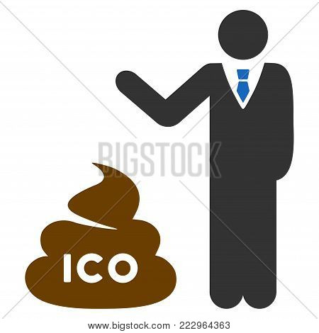 Businessman Show Ico Shit flat vector pictograph. An isolated icon on a white background.