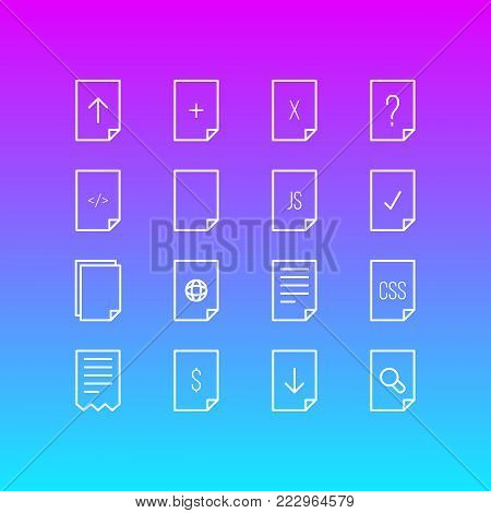 Vector illustration of 16 document icons line style. Editable set of download, css, js and other icon elements.