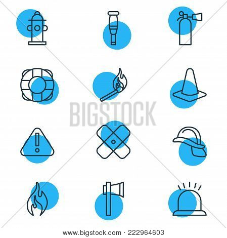 Vector illustration of 12 extra icons line style. Editable set of exclamation, ax, water and other icon elements.