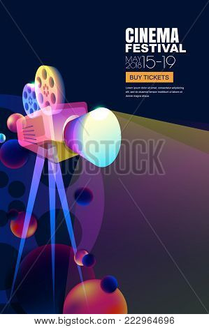 Vector Glowing Neon Cinema Festival Poster Or Banner Background. Colorful 3D Style Movie Camera With