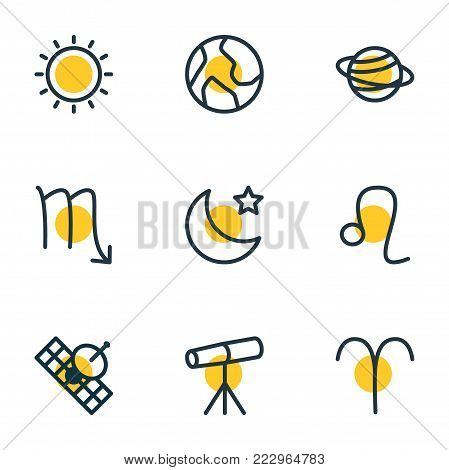 Vector illustration of 9 astrology icons line style. Editable set of lion, satellite, sunny and other icon elements.