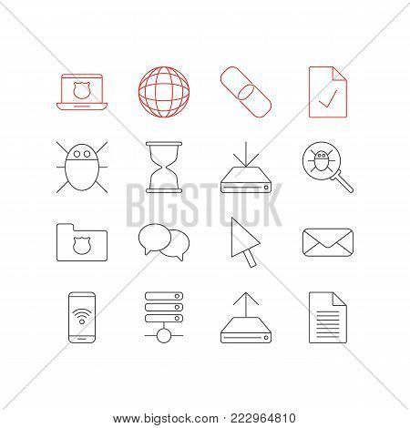 Vector illustration of 16 internet icons line style. Editable set of database, hourglass, hdd downloading and other icon elements.
