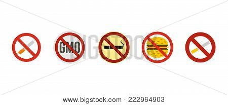 Restricted sign icon set. Flat set of restricted sign vector icons for web design isolated on white background