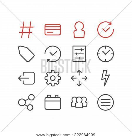 Vector illustration of 16 annex icons line style. Editable set of credit card, history, member and other icon elements.