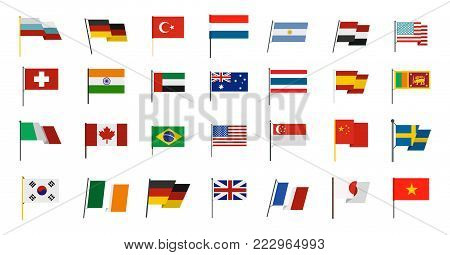 Country flag icon set. Flat set of country flag vector icons for web design isolated on white background