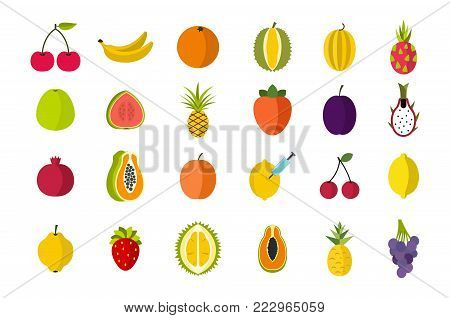 Fruits icon set. Flat set of fruits vector icons for web design isolated on white background