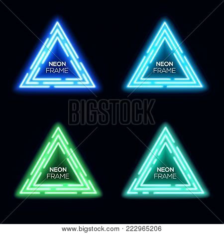 Neon light triangles set. Shining techno frame collection. Night club electric bright 3d banners design on dark blue backdrop. Neon abstract tech background with glow. Technology vector illustration.