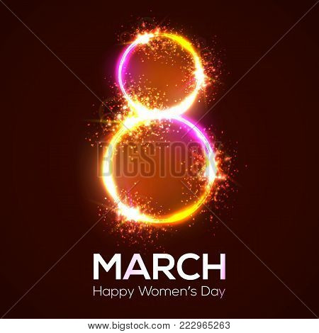 Happy womens day. 8 march in neon circles with glow and firework. Bright 3d banner on dark red backdrop. Greeting card for International womens day design. Neon vector illustration with flash light.