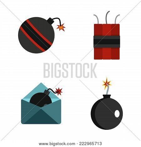 Bomb icon set. Flat set of bomb vector icons for web design isolated on white background