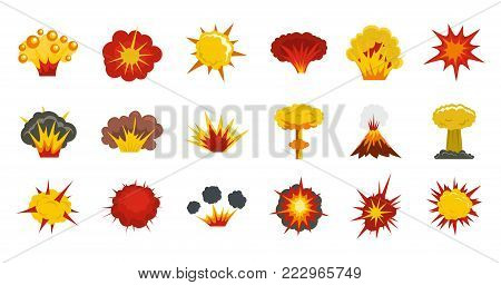 Explosion icon set. Flat set of explosion vector icons for web design isolated on white background