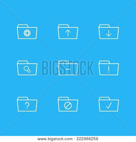 illustration of 9 folder icons line style. Editable set of important, dossier, question and other elements.