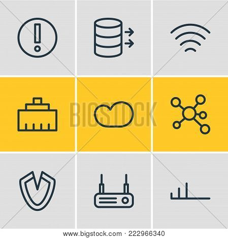 illustration of 9 network icons line style. Editable set of technology, wave, ethernet and other elements.