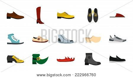 Shoes icon set. Flat set of shoes vector icons for web design isolated on white background