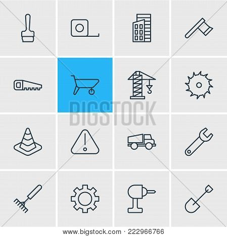 illustration of 16 industry icons line style. Editable set of lorry, spade, lifting and other elements.