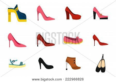 Woman shoes icon set. Flat set of woman shoes vector icons for web design isolated on white background