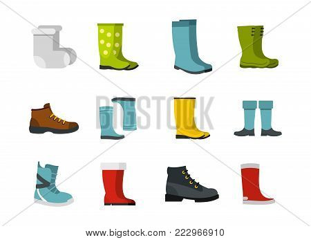 Boots icon set. Flat set of boots vector icons for web design isolated on white background