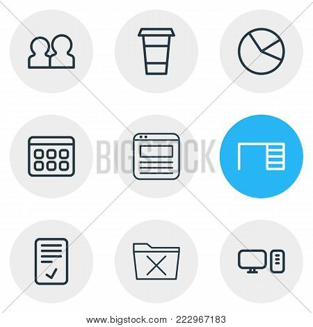illustration of 9 bureau icons line style. Editable set of calendar, browser tab, desk and other elements.