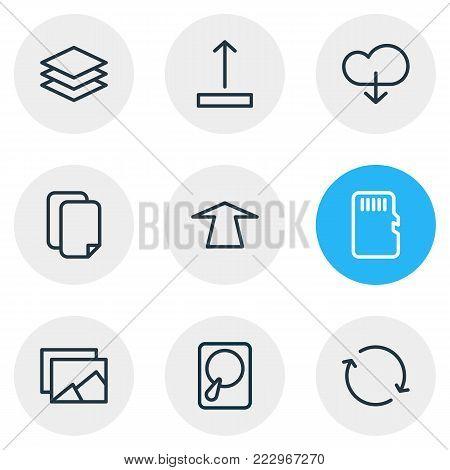 illustration of 9 memory icons line style. Editable set of memory, upward, synchronize and other elements.