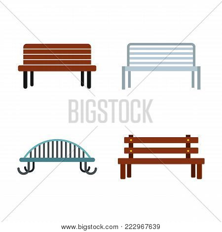 Bench icon set. Flat set of bench vector icons for web design isolated on white background