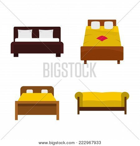 Bed icon set. Flat set of bed vector icons for web design isolated on white background