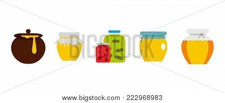 Jar icon set. Flat set of jar vector icons for web design isolated on white background