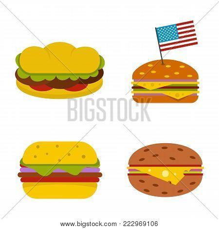 Hamburger icon set. Flat set of hamburger vector icons for web design isolated on white background