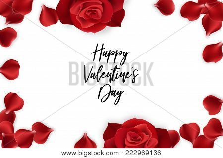 Red rose petal isolated white background. Vector wedding illustration. Valentines Day greeting card. Valentine floral poster. Random falling petals. Isolated greeting frame