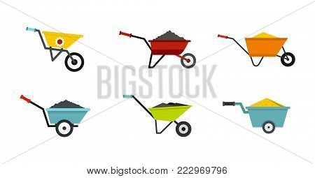One wheel barrow icon set. Flat set of one wheel barrow vector icons for web design isolated on white background