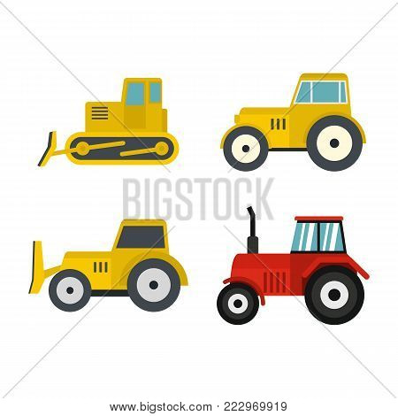 Tractor icon set. Flat set of tractor vector icons for web design isolated on white background