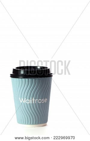 Waitrose Free Coffee. Disposable Hot Drink Cup. Environmentally Unfriendly Perk. Non-recyclable Cup.