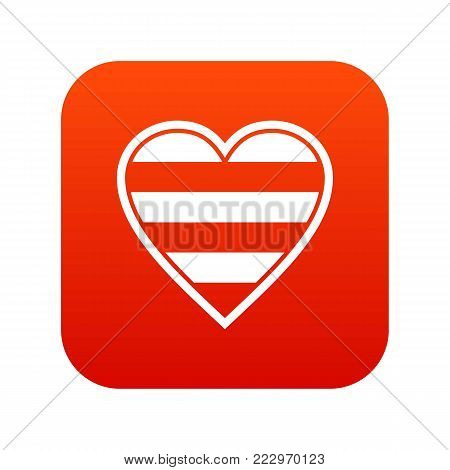 Heart LGBT icon digital red for any design isolated on white vector illustration