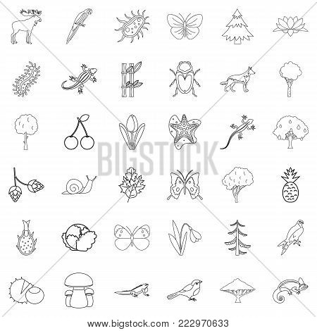 Climate icons set. Outline style of 36 climate vector icons for web isolated on white background