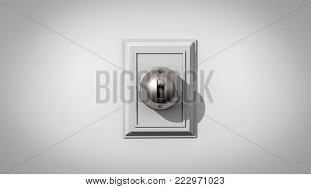 3D illustration of an old-fashioned ceramic light switch on a gray wall with the switch and backplate composed center
