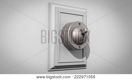 3D illustration of an old-fashioned ceramic light switch on a gray wall with the switch and backplate centered and facing right
