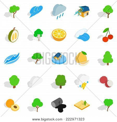 Pure land icons set. Isometric set of 25 pure land vector icons for web isolated on white background