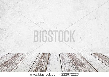 Empty perspective vintage white wood and white cement wall background, room, table top, shelf for product display montage background