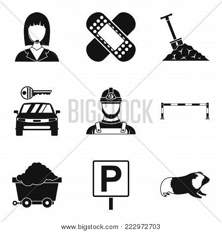 Difficult work icons set. Simple set of 9 difficult work vector icons for web isolated on white background