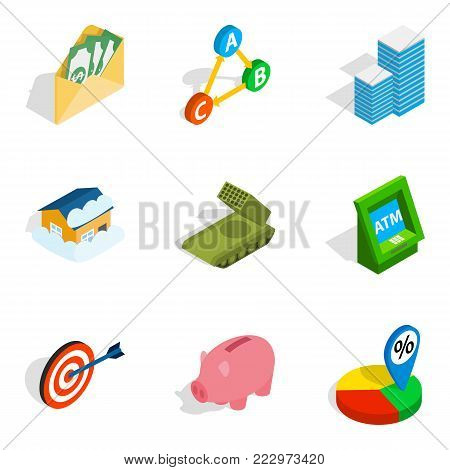 Feedback loop icons set. Isometric set of 9 feedback loop vector icons for web isolated on white background