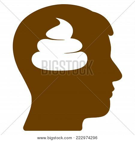Shit Brains Head flat vector icon. An isolated icon on a white background.