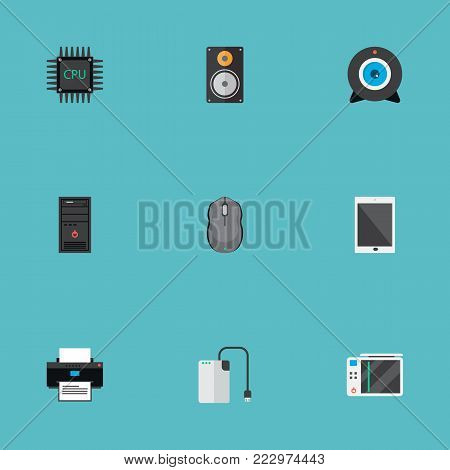Set of computer icons flat style symbols with game console, control device, processor and other icons for your web mobile app logo design.