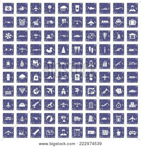 100 plane icons set in grunge style sapphire color isolated on white background vector illustration