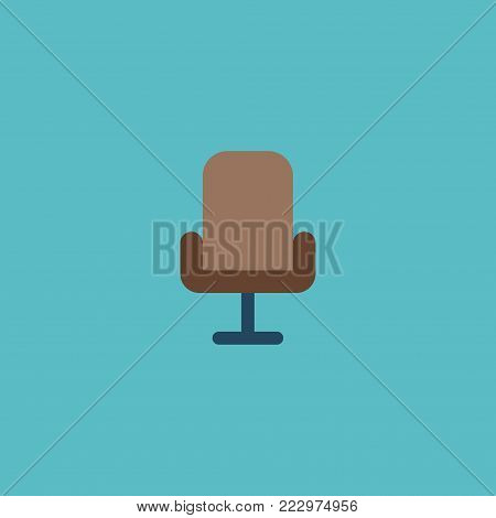 Office chair icon flat element. Vector illustration of office chair icon flat isolated on clean background for your web mobile app logo design.
