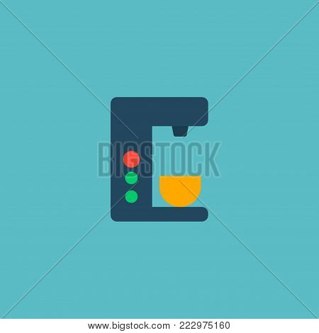 Coffee maker icon flat element. Vector illustration of coffee maker icon flat isolated on clean background for your web mobile app logo design.