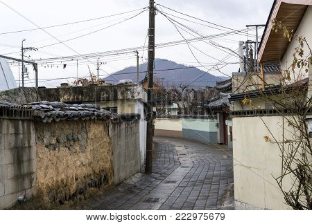 hwangridan street alleyway roads in gyeongju south korea.
