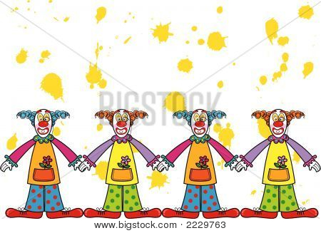 silly clowns with yellow splat background (vector)
