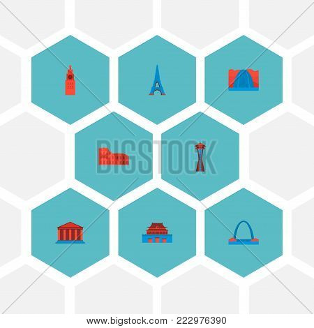 Set of famous icons flat style symbols with academy, beijing, space needle and other icons for your web mobile app logo design.