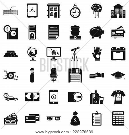 Credit card icons set. Simple style of 36 credit card vector icons for web isolated on white background